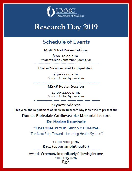 Research day schedule of events